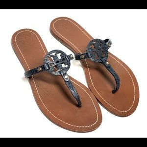 Tory Burch Miller Leather Thong Sandals Sz 10M